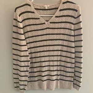 TALBOTS Womens Cable Knit Striped Sweater - Sz XL